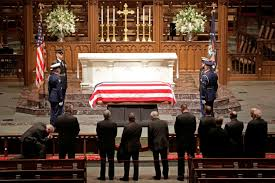 The casket of former President George HW Bush
